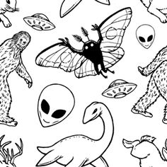 """teamlunch: """"Inktober Cryptid patterns, change the hue, saturation, etc if you like. Also contact me if you'd like me to design a pattern similar to these. Mothman, Cryptozoology, Gifts For Photographers, Mythical Creatures, Tattoo Inspiration, Tatting, Cool Art, Art Projects, Artsy"""