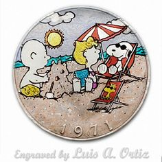 Snoopy's Vacation Ike Hobo Nickel Pinup Colored& Engraved by Luis A Ortiz Hobo Nickel, Hand Engraving, Pinup, Hand Carved, Snoopy, Vacation, Ebay, Color, Things To Sell