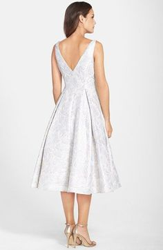 Adrianna Papell Metallic Floral Jacquard Tea Length Fit & Flare Dress | Nordstrom