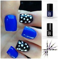 Blue and Black Polka Dot Nails
