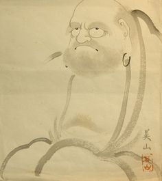 Japanese ink painting (sumi-e) of the founder of Zen Buddhism Bodhidarma/Daruma. I always enjoy the subtility of these ink paintings, especially the ones depicting Daruma. Somewhat rough and savage looking, not at all like Western images depicting their saints. The myth goes to say that he cut of his eyelids so he couldn't fall asleep durings his 7 years meditation in a cave.