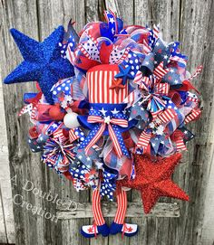 XL Uncle Sam Deco Mesh Wreath Patriotic Deco Mesh Wreath 4th