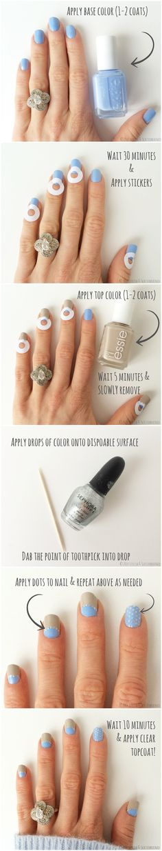 Easy nail art tutorial. Not a fan of the colors, but I love the design idea.