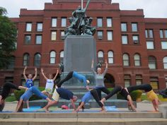 Geneva and Happy Place yoga are both committed to tradition--Here are Going To My Happy Place Yoga students at the courthouse with their yoga pyramid demo!