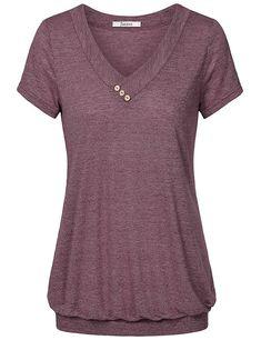 594f930d15c Jazzco Womens V Neck Short Sleeve Banded Bottom Blouse T Shirt Clothing,  Amazon Affiliate link