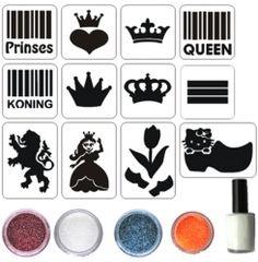 Konings Glitter Set Glitter Tattoo Set, Silhouette Tattoos, Temporary Tattoo, Glitters, Fun Things, Tatoos, Coloring Books, Stencils, Art Ideas
