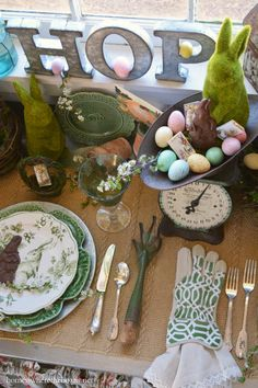 DIY Easter table decor featuring Make Market galvanized letters