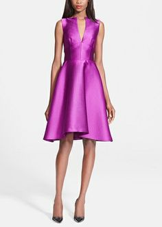 Love the plunging split neckline on this orchid Lela Rose embossed satin fit & flare dress.