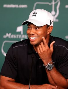 Tiger Woods wearing a Rolex Deepsea at the 2012 Masters Presscon.