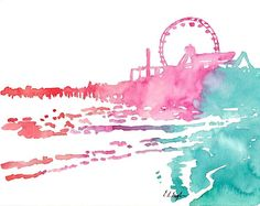 Santa Monica Pier Original Watercolor Painting by GrowCreativeShop