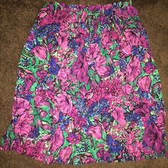 Vibrant Floral Skirt  Pinks, Purples and Blues Flower Filled Skirt! Light and Flowy Perfect for the Warm Weather. Skirts Midi