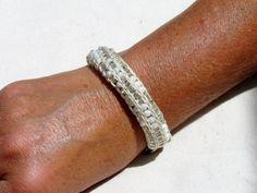 Handmade French Knit Beaded Bracelet  White by SpindleCityKnits