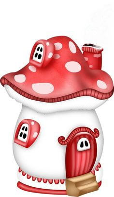 Cute Little Mushroom House Mushroom House, Mushroom Art, Colorful Pictures, Cute Pictures, Diy And Crafts, Paper Crafts, Cute Clipart, Digi Stamps, Print And Cut