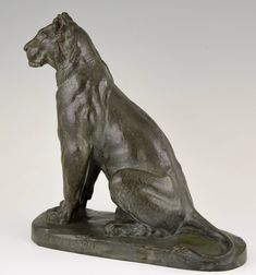 French Bronze Panther Sculpture by Charles Valton, 1910   From a unique collection of antique and modern sculptures at https://www.1stdibs.com/furniture/decorative-objects/sculptures/