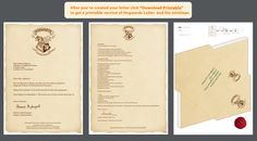 Create a letter from Hogwarts