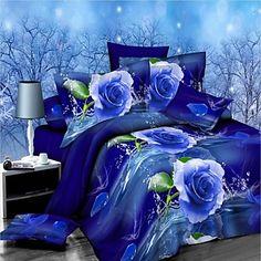 set+copripiumino,+fiori+blu+soddisfare+comodità+semplice+modello+moderno+3d+stampato+4+pezzi+–+EUR+€+38.80