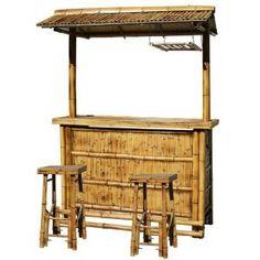 AmeriHome Bamboo Tiki Patio Bar Set-at The Home Depot Tiki Bar Stools, Lattice Fence Panels, Westerns, Bamboo Bar, Bamboo Garden, Bamboo Construction, Stone Bar, Patio Bar Set, Tiki Bars