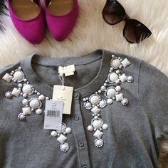FINAL PRICE ✨✨Kate Spade Gray Embellished Cardigan NWT Brand New kate spade cardigan embellished with beautiful white beading. Cashmere blend. Perfect condition, never been worn. Make an offer! kate spade Sweaters Cardigans