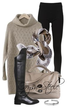 """""""Canard Scarf"""" by orysa ❤ liked on Polyvore featuring DKNY, PEPER, Tory Burch, Zanellato, Office and David Yurman"""