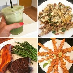 Whole 30: Day 5- celery cucumber Apple mint juice / mushroom spinach eggs/ fillet steak sweet potato and asparagus / @paleomg spicy shrimp ( and chicken) skewers- portion shown is for 2 people. #paleo #whole30 #primal #crossfit #cleaneats #cleaneating #healthy #lowfat #lowcarb #lowcalorie #atkins #21dsd #slimmingworld #weightwatchers #glutenfree #organic #sugarfree #wod #leanin15 #workout #girlswholift #fitspo #fitgirls #diet #mydubai #uk #thebodycoach @whole30 by rtrecipes