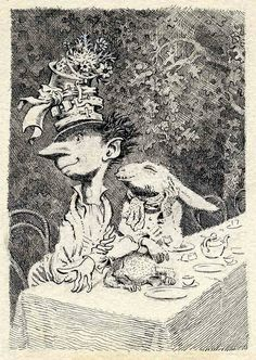 Mad Hatter's Tea Party from Alice in Wonderland, 1945, Peake Estate by Eye magazine, via Flickr - Mervyn Peake