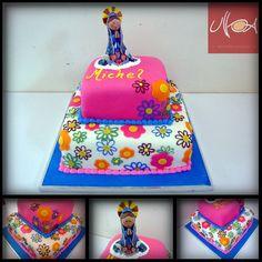 torta virgencita plis - Buscar con Google Birthday Cake, Birthday Parties, Communion Cakes, First Holy Communion, Cakes And More, Cake Pops, Holi, Cake Decorating, Food And Drink