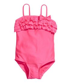 Check this out! Swimsuit with frills and a bow at the top, narrow shoulder straps and a lined gusset. - Visit hm.com to see more.