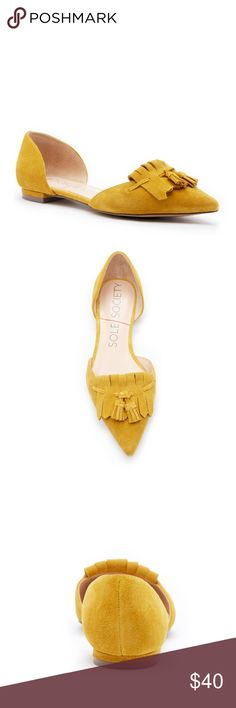 "Sole Society Hart Flat NEW NEVER WORN! Hart flat in on trend mustard color. These have a very cute tassel front with pointed toe and 1/4"" heel. Size 6, fits true to size. These are part of the SS current season and are still on sale on their site at full price! Sole Society Shoes Flats & Loafers"