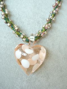Kumihimo Beaded Necklace with Pink Glass by SonseraeDesigns, via Etsy.
