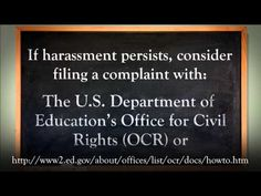 In this video, leaders from the U.S. Department of Education and the U.S. Department of Justice define and describe what harassment is.
