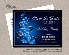 86 best christmas and holiday party save the date images on christmas save the date cards printable holiday party invitation save the date postcards elegant blue silver christmas party invitation accmission Gallery