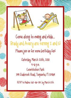At the playground childrens birthday party invitations by erica playgroundpark party invitation printable by cardsbycarolyn 800 filmwisefo