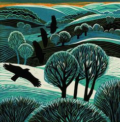 'Homeward Go' by Annie Soudain Rye Society of Artists Art Prints, Linocut Printmaking, Art Images, Painting, Illustration Art, Art, Linocut Art, Landscape Art, Bird Art