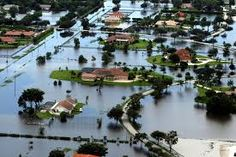 Flood The inundation of land that is normally dry through the overflowing of a body of water, esp a river.