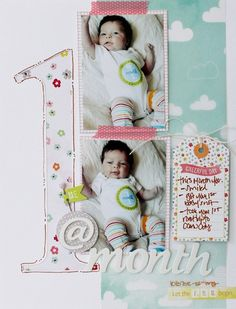 Me @ 1 Month - by Jenny Chesnick using the Dear Lizzy Neapolitan collection from American Crafts. #scrapbooking #layout #baby #dearlizzy