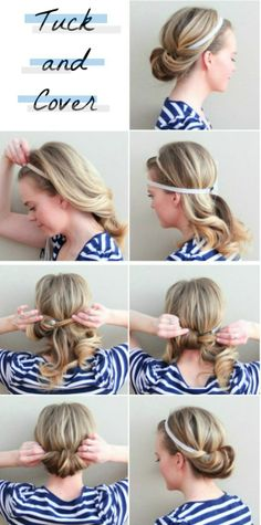 23 Five-Minute Hairstyles For Busy Mornings – 5 minute hairstyles Five Minute Hairstyles, Up Hairstyles, Pretty Hairstyles, Simple Hairstyles, Wedding Hairstyles, Headband Hairstyles, Waitress Hairstyles, Easy Beach Hairstyles, Amazing Hairstyles