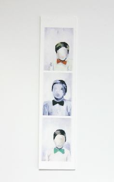 "Clever little 2""x7"" print of a painting of a photo booth photo strip. Available on etsy from kikiandpolly."