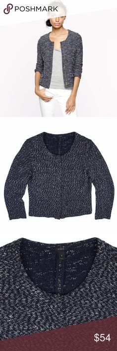 """JCREW Microtweed Jacket in Navy Blue Excellent condition! This navy blue and white fleck Microtweed knit jacket from JCREW features a zipper closure, front pockets and is unlined. Made of a cotton blend. Measures: bust: 37"""", total length: 22"""", sleeves: 23"""" J. Crew Jackets & Coats Blazers"""