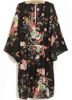 Vestido cuello pico floral-negro 14.60