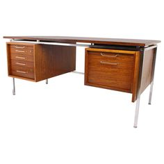 Vintage Large Executive Wenge Desk, Attributed To Fabricius Kastholm, Danish