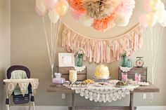 I like the color theme. Pink, tan, brown, blue-ish. Wood and burlap would look great
