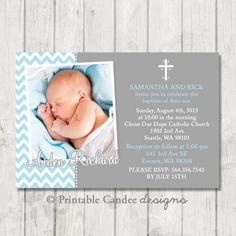 Blue and Grey Chevron Baptism or Christening Invitation - DIY Custom Printable on Etsy, $10.00