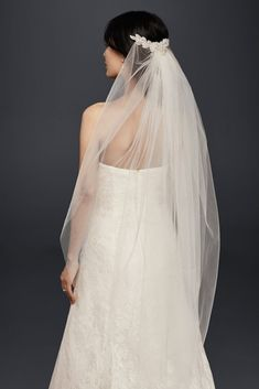 Mid-Length Veil with Floral Comb - Champagne (Yellow)