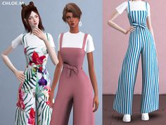 sims 4 cc // custom content clothing // the sims resource // ChloeMMM's Jumpsuit 02 The Sims 4 Pc, Sims Four, Sims 4 Mm, Sims Baby, Sims 4 Toddler, Sims 4 Mods Clothes, Sims 4 Clothing, The Sims 4 Cabelos, Die Sims