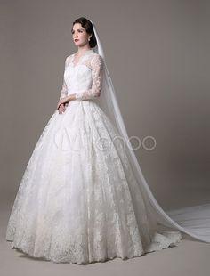 ケイト ・ ミドルトン王室の結婚式のドレス ヴィンテージ レース v ネック長袖と Milanoo