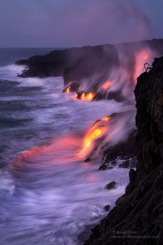 Molten lava flowing into the sea in Hawaii Volcanoes National Park, The Big Island #Hawaii