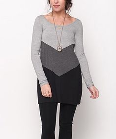 This Caralase Gray & Charcoal Chevron Color Block Tunic by Caralase is perfect! #zulilyfinds
