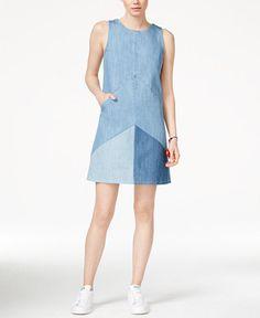 Rachel Roy Women's Color-blocked Denim Shift Dress Size M for sale online Simple Dresses, Casual Dresses, Fashion Dresses, Denim Dresses, Summer Dresses, Rachel Roy, Sewing Clothes Women, Clothes For Women, Denim Ideas