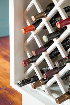Great use of space within a kitchen island: a tucked-in wine rack.