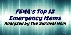 The FEMA website lists basic items that should be in every emergency kit. Here are a few thoughts and tips of my own. FEMA's list items are italicized.